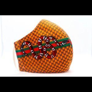 Orange Snake Print Gucci Mask